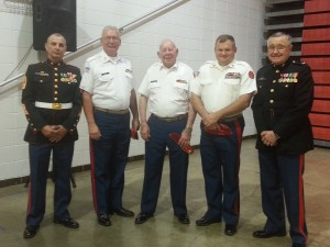 Seneca JROTC Instructors Col. Maloney & SgtMaj Wilson and Commandant Cross, Bill Taylor, Cletis Evans